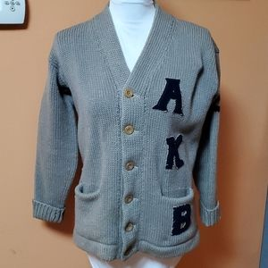 1950s Women's Letter Wool Cardigan Sweater